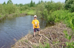 My youngest son standing on a beaver dam on our forestland. This was taken during a weekend exploration trip several years ago. He's 17 now and graduating from high school in a few months.