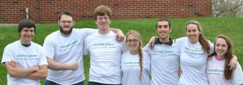 "Students at SUNY-ESF proudly wearing their new ""choose paper"" T-shirts"